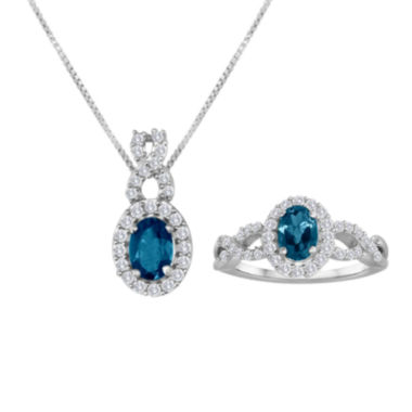 jcpenney.com | Genuine Blue Topaz and Lab-Created White Sapphire Sterling Silver Jewelry