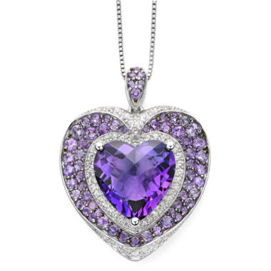 jcpenney.com | Lab-Created Amethyst and White Sapphire Sterling Silver Heart Pendant Necklace