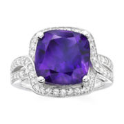 Genuine Amethyst and Lab-Created White Sapphire Sterling Silver Ring