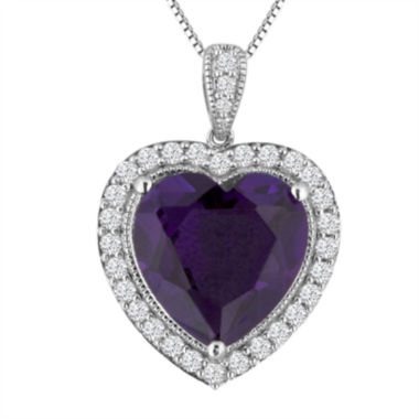jcpenney.com | Lab-Created Amethyst and White Sapphire Heart Pendant Necklace