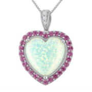 Lab-Created Opal with Pink and White Sapphire Pendant Necklace