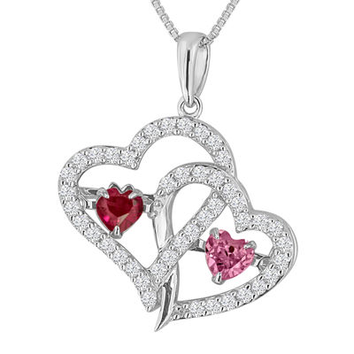 Love in motion lab created ruby pink white sapphire sterling love in motion lab created ruby pink white sapphire sterling silver double aloadofball Gallery