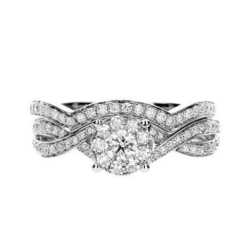 Brilliant Dream™ 3/4 CT. T.W. Diamond 14K White Gold Bridal Ring Set