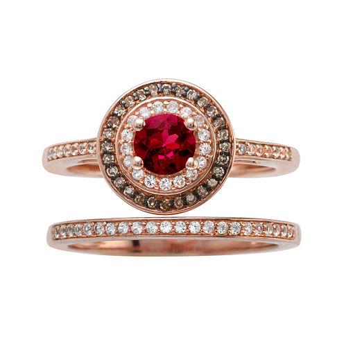 1/4 CT. T.W. Diamond and Genuine Red Rhodolite 10K Rose Gold Bridal Ring Set