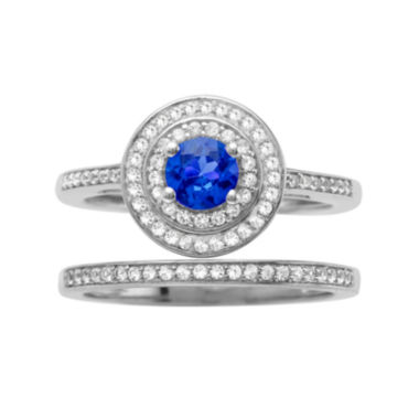 jcpenney.com | 1/3 CT. T.W. Diamond and Genuine Blue Sapphire 10K White Gold Bridal Ring Set