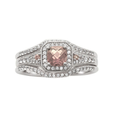 jcpenney.com | 1 1/4 CT. T.W. Diamond and Genuine Pink Morganite Sterling Silver Bridal Ring