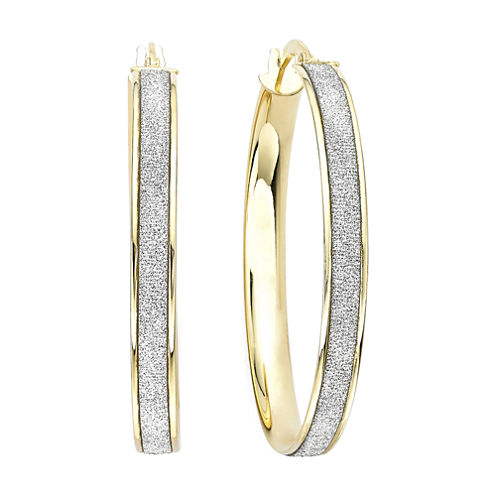 Made in Italy 14K Gold Glitter Hoop Earrings