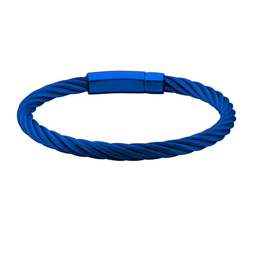 Mens Blue Stainless Steel Cable Bracelet