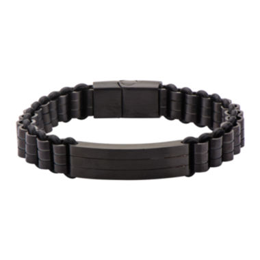 jcpenney.com | Mens Black Stainless Steel Silicone Bracelet