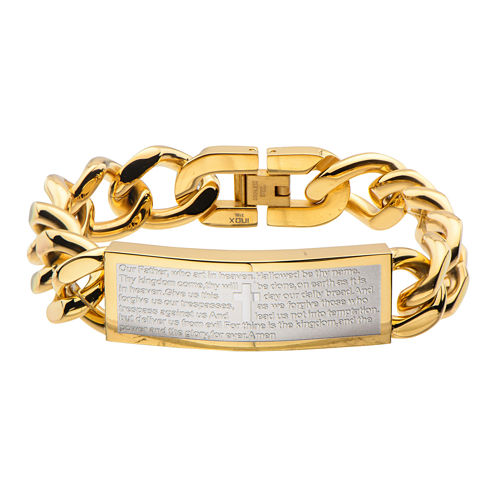 Mens Gold-Tone Stainless Steel Lord's Prayer Bracelet