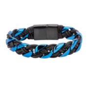 Mens Black Leather Blue Stainless Steel Bracelet