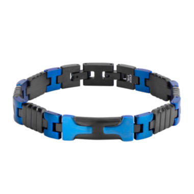 jcpenney.com | Mens Black and Blue Stainless Steel Bracelet
