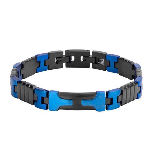 Mens Black and Blue Stainless Steel Bracelet