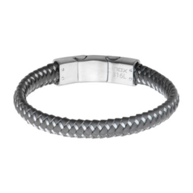 jcpenney.com | Mens Gray Leather Woven Stainless Steel Bracelet