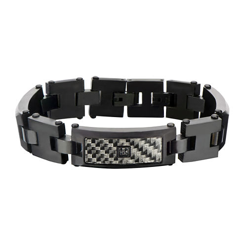 Mens Black Stainless Steel Diamond-Accent Bracelet