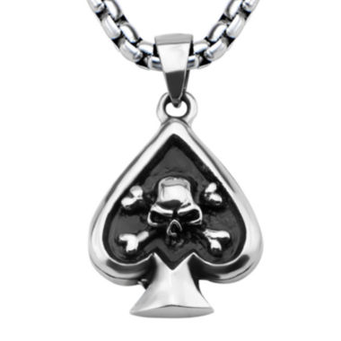 jcpenney.com | Mens Silver-Tone and Black Oxidized Stainless Steel Skull Spade Pendant Necklace