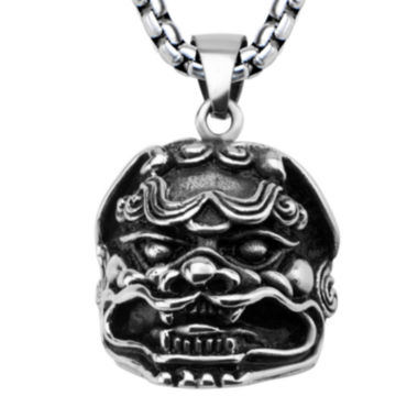 jcpenney.com | Mens Silver-Tone Black Oxidized Stainless Steel Lion Pendant