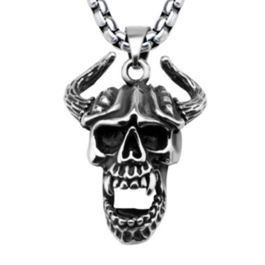 jcpenney.com | Mens Silver-Tone and Black Oxidized Stainless Steel Horn Skull Pendant