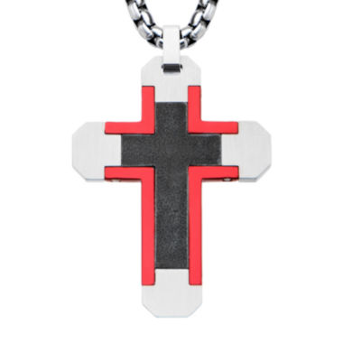 jcpenney.com | Mens Tri-Tone Stainless Steel Cross Pendant