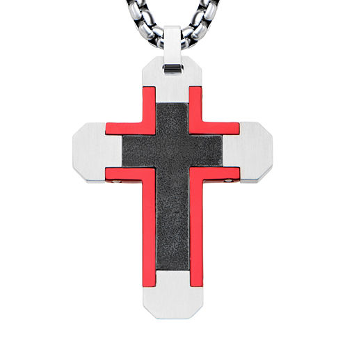 Mens Tri-Tone Stainless Steel Cross Pendant