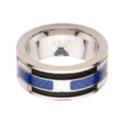 Mens Stainless Steel Blue Carbon Fiber Black Cable Steel Inlay Ring