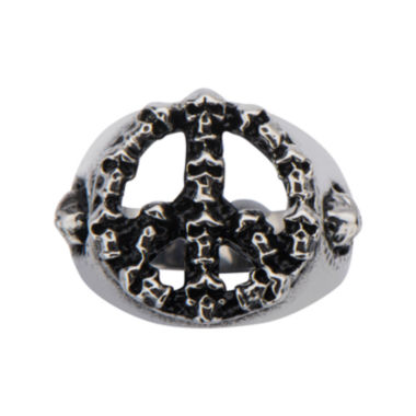 jcpenney.com | Mens Black Oxidized Stainless Steel Peace Sign Skull Ring