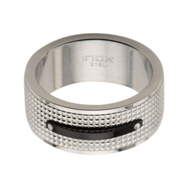 jcpenney.com | Mens Silver-Tone and Black Stainless Steel Wedding Band