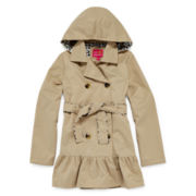 Pink Platinum Hooded Trench Coat - Girls 7-16