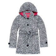 Pink Platinum Cheetah Print Hooded Trench Coat - Girls 7-16