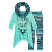Knit Works® 3-pc. 3/4-Sleeve Sharkbite Tunic Set - Girls 7-16