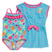 Wippette 1-pc. Pineapple-Print Swimsuit and Cover-Up - Toddler Girls 2t-4t