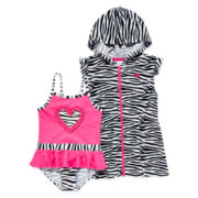 Wippette 1-pc. Swimsuit and Zebra Cover-Up - Toddler Girls 2t-4t