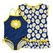Wippette 1-pc. Dotted Swimsuit and Cover-Up Set - Toddler Girls 2t-4t