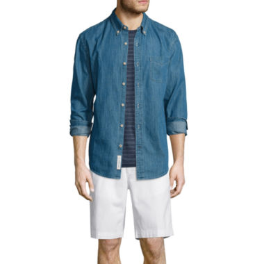 jcpenney.com | St. John's Bay® Denim Sport Shirt, Striped Tee or Flat-Front Shorts