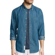 St. John's Bay® Long-Sleeve Denim Sport Shirt