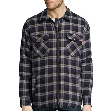 Work king zip front quilt lined flannel shirt jcpenney for Zip front flannel shirt