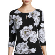 Liz Claiborne® 3/4-Sleeve Floral Knit Top