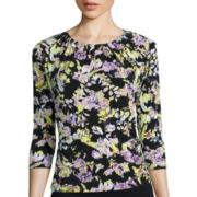 Liz Claiborne® Saddle Sleeve Keyhole Top - Tall