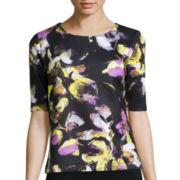 Liz Claiborne® Elbow-Sleeve Floral Top