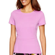 Liz Claiborne® Short-Sleeve Jacquard Knit High-Low Peplum Top