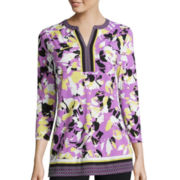 Liz Claiborne® 3/4-Sleeve Print Border Tunic