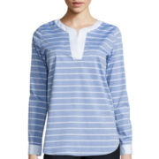Liz Claiborne® Long-Sleeve Blue Striped Tunic
