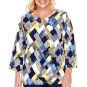 Alfred Dunner® Sausilito Fractured Print Top - Plus