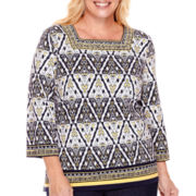 Alfred Dunner® Sausilito 3/4-Sleeve Diamond Border Top - Plus