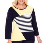 Alfred Dunner® Sausilito 3/4-Sleeve Colorblock Sweater - Plus