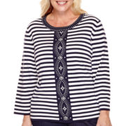 Alfred Dunner® Sausilito 3/4-Sleeve Beaded Striped Top - Plus