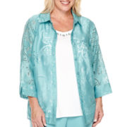 Alfred Dunner® Crystal Springs 3/4-Sleeve Burnout Layered Top - Plus