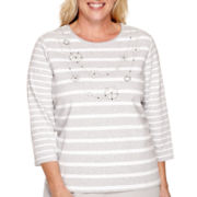 Alfred Dunner® Crystal Springs 3/4-Sleeve Striped Necklace Top - Plus