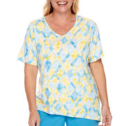 Alfred Dunner® Weekend Getaway Short-Sleeve Diamond Print Top - Plus