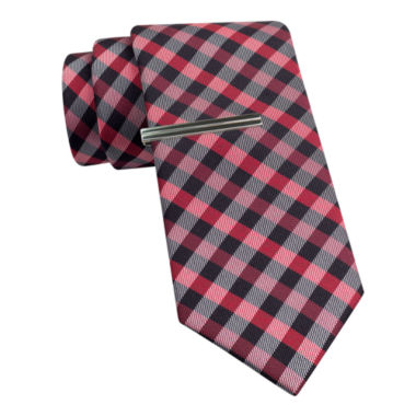 jcpenney.com | JF J. Ferrar® Gingham Tie and Tie Bar Set